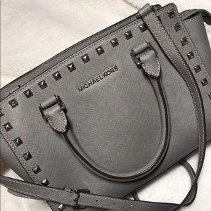 Michael Kors Selma stud medium top zip satchel